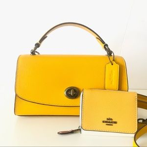 Coach Tilly Satchel 23 Yellow Purse Wallet Set